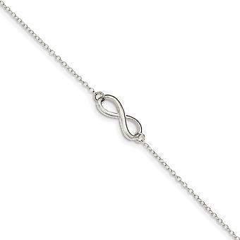 925 Sterling Silber poliert mit 1in. Ext. Infinity Symbol Fußkettchen 9 Zoll Schmuck Geschenke für Frauen