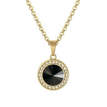 Eternal Collection Viva Jet Black Austrian Crystal Gold Tone Pendant