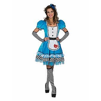 Kostüm Kleid Alice Damen Märchen Abenteuer Kleid Blau Weiß Kariert Karneval Fasching Wunderland Herzkönigin Damenkostüm