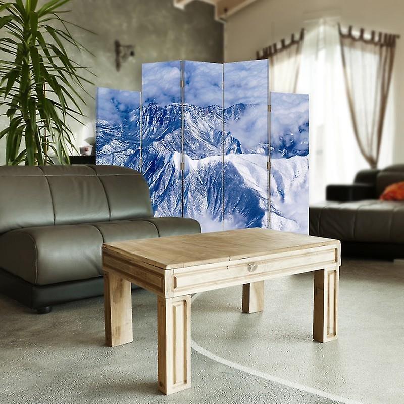 Diviseur de pièce décorative, 5 panneaux, double-sided, toile rotative de 360 , montagnes dans les nuages 2