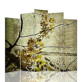 Dekorativa rumsavdelare, 5 paneler, dubbelsidig, canvas, blommande gren av 9