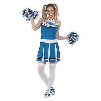 Womens Blue Cheerleader costumé
