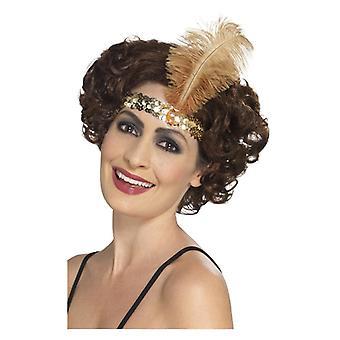 Dame 1920s stopgarn hovedbøjle guld Fancy kjole tilbehør