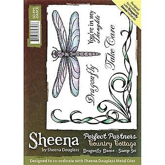 Sheena Douglass Perfect Partners Country Cottage A6 Rubber Stamp Set - Danse Dragonfly