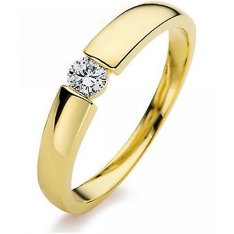 Diamond ring - 14K 585/- Yellow gold - 0.17 ct. Size 54