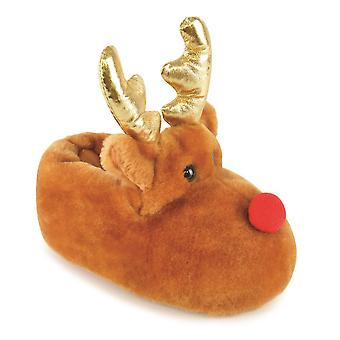 Christmas Rudolph Reindeer Character With Antlers Plush 3D Slippers For Kids/Children UK/EU Sizes