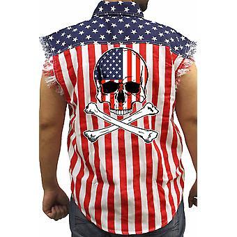 Мужская США флаг рукавов Джинсовая рубашка американских череп ж / скрещенных костей байкер
