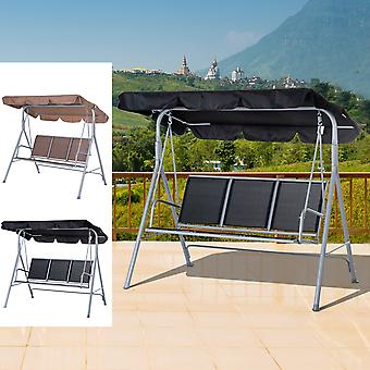 Metal Swing Chair Patio Hammock Garden Bench 3 Seater Rock Sun Shade
