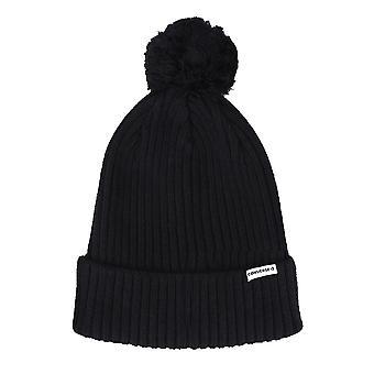 Converse Rib Knit Pom Winter Knitted Unisex Beanie Hat - Black