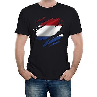 Reality glitch torn netherlands flag mens t-shirt
