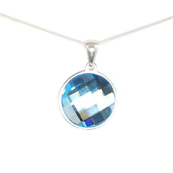 TOC Round Aqua Faceted Pendant Made With Swarovski Crystals on 18 Inch Chain