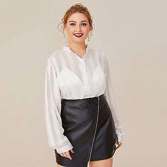 Plus striped sheer mock collar blouse