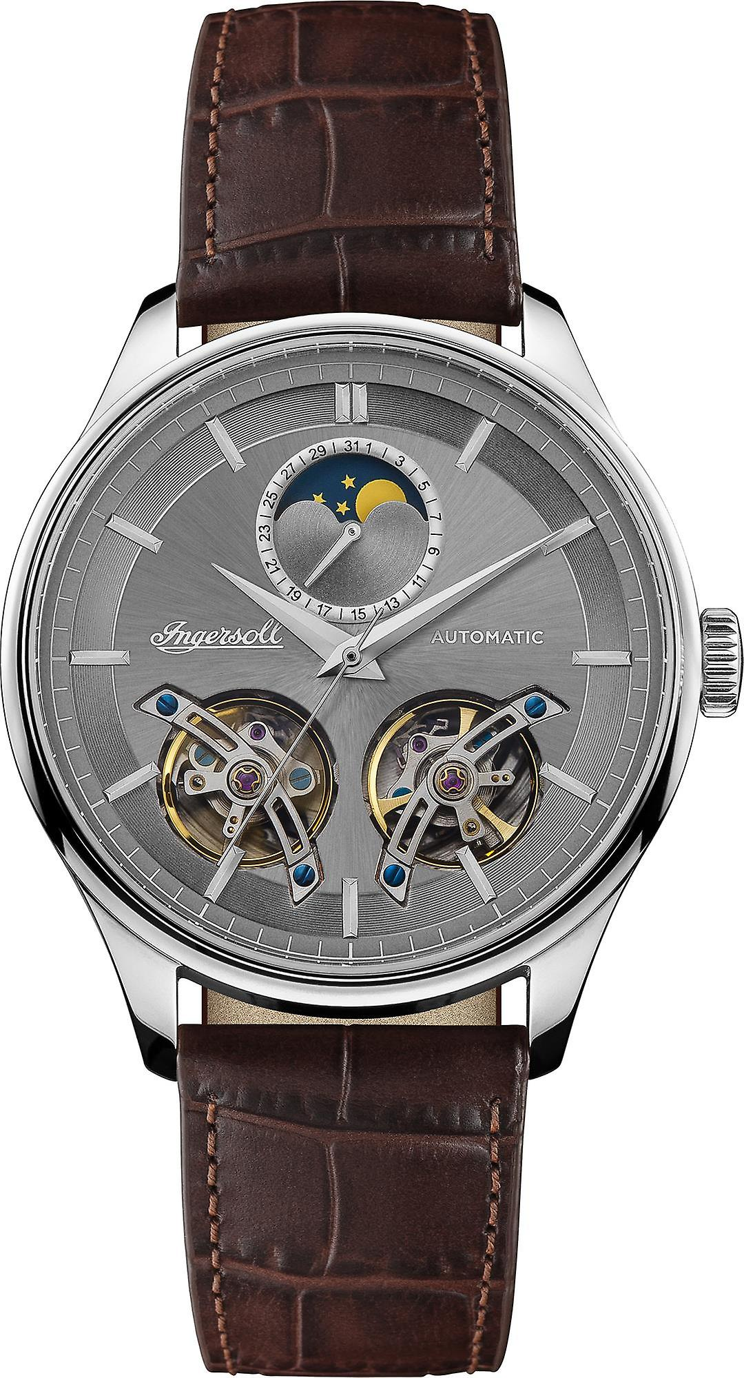 Ingersoll The Chord Automatic Silver Dial Sun Moon Subdial Leather Strap Mens Watch I07201 44mm