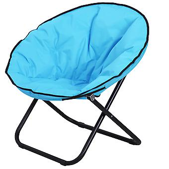 Outsunny Garden Folding Portable Padded Saucer Moon Chair Padded Round Outdoor Camping Travel Fishing Seat Blue