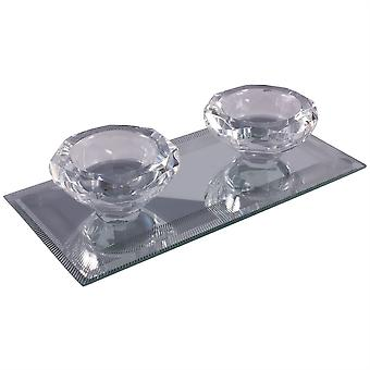 Silver Sparkle Lines Glass Diamond Double Tealight Holder - Clear