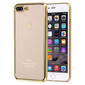 iPhone 8 PLUS,7 PLUSケース用,エレガントな透明電気メッキカバー,ゴールド