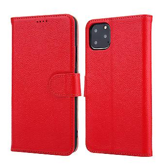 Pour iPhone 11 Pro Max Case Cowhide Genuine Leather Wallet Protective Cover Rouge