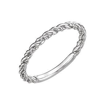 14k Vit Guld polerad stapelbar Rep Ring Storlek 6,5 smycken Gåvor för kvinnor - 1,9 gram