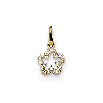 14k for boys or girls CZ Cubic Zirconia Simulated Diamond Flower Pendant Necklace