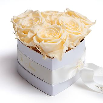 Ti Amo Flowers Roses Box in Heart Shape 6 Preserved Eternal Roses in Beige