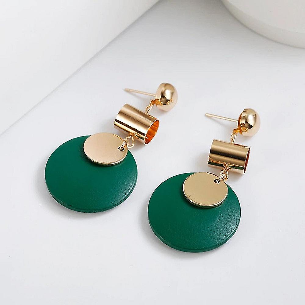 Green Disc Gold Earrings for Parties