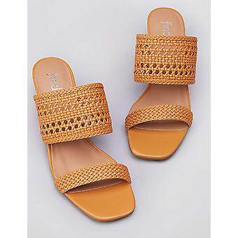 Amazon Brand - find. Women's Two Band Woven Sandal With Block Heel, Brown, US...