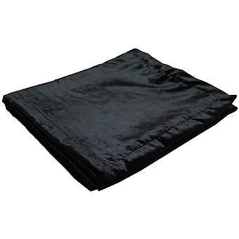 Glanzend zwart gemalen fluwelen Tafelloper