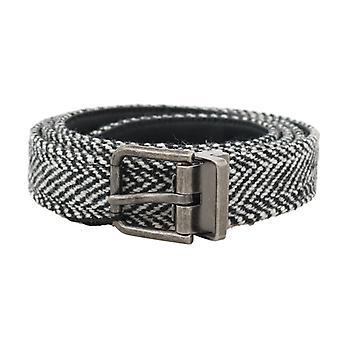 Dolce & Gabbana Sort Hvid Chevron Uld Læder Bælte