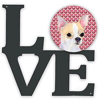 Chihuahua Hearts Love et Valentine-apos;s Day Portrait Metal Wall Artwork LOVE