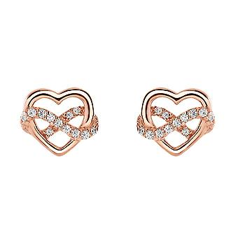 Dew Sterling Silver Heart Infinity With Rose Gold Plate & Cubic Zirconia Stud Earrings 3318RGCZ