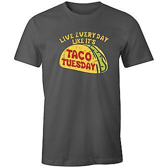 Boys Crew Neck Tee Lyhythihainen Miesten T-paita- Live Everyday Like It's Taco Tiistai