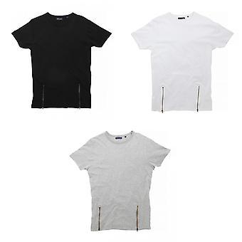 Brave Soul Mens Falcon manches courtes Zip avant T-Shirt