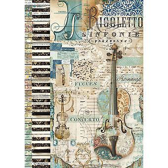 Stamperia Rice Papier A4 Muziek Viool