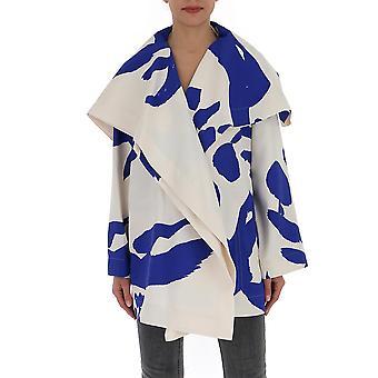 Issey Miyake Im07fa51276 Women's White/blue Polyester Poncho
