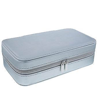 Mele-Lynne Silver PU Jewellery Box mit Spiegel & Compartments 5218
