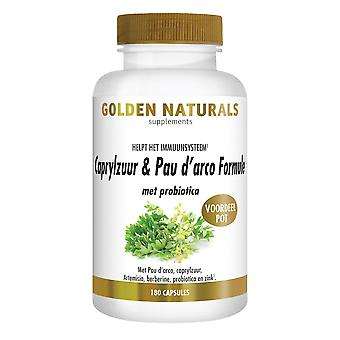 Golden Naturals Caprylic acid & Pau d'arco formula with probiotics (180 vegetarian capsules)