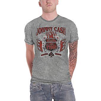 Johnny Cash T Shirt verdrietig Ring van vuur Logo officiële Mens nieuwe grijze Burnout
