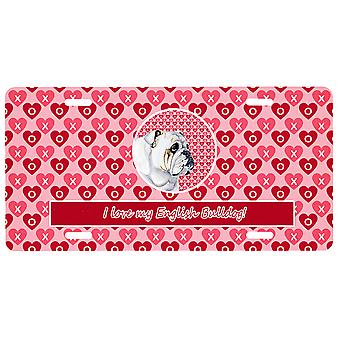 Carolines Treasures LH9139LP Bulldog Engels Valentine's Love and Hearts Licens