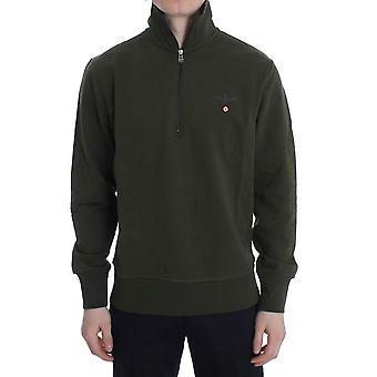 Grøn bomuld stretch halv lynlås sweater