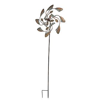 Two Tone Copper and Silver Kinetic Wind Spinner Garden Stake Bird or Dragonfly