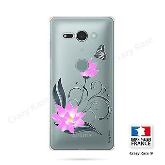 Hull For Sony Xperia Xz2 Compact Soft Lotus Flower Pattern And Butterfly