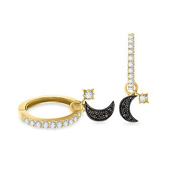 Earrings Black Diamonds Moon and Star 18K Gold - Yellow Gold