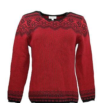North Style Women's Sweater Printed Crew Neck Dark Red