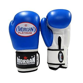 Morgan V2 Platinum Leather Sparring Gloves Blue