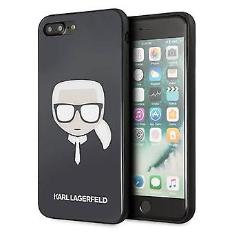 KARL LAGERFELD Iconic Boss Glitter Backcover Hoesje iPhone 8 Plus / 7 Plus - Zwart