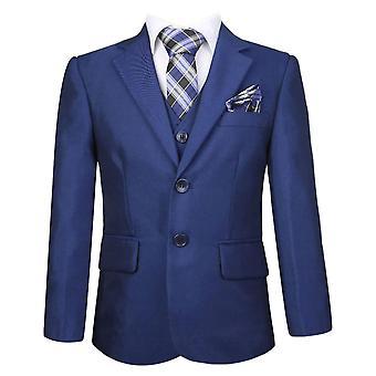 男の子濃いブルー完全なセット スーツ