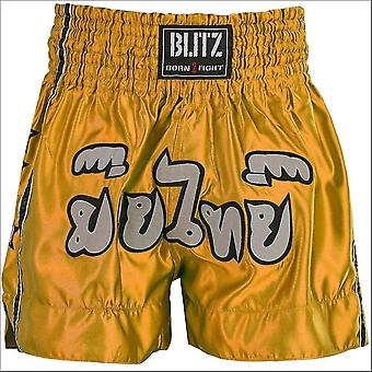 Blitz sports kids muay thai fight shorts - yellow