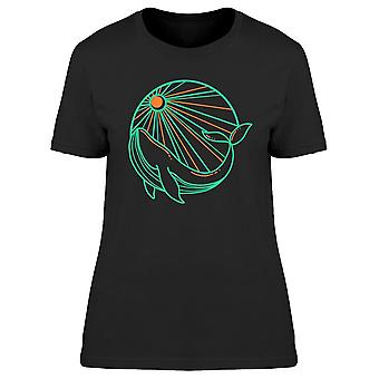Whale And Sun Neon Lines Tee Women's -Image by Shutterstock