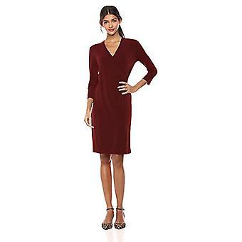 Lark & Ro Women's Crepe Knit Faux Wrap Dress, Zinfandel 8