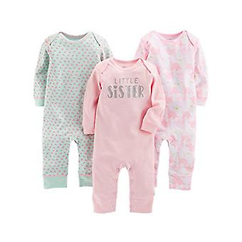 Simple Joys by Carter's Baby Girls' 3-Pack Jumpsuits, Pink, Mint, Dino, 6-9 M...
